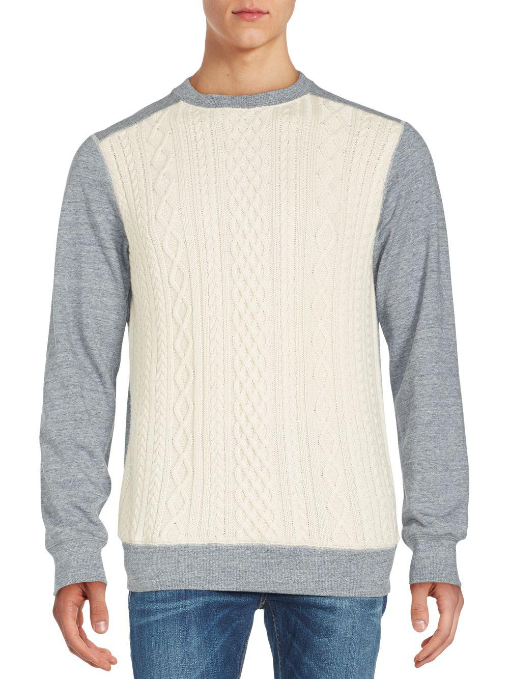 Robert graham Cable-knit Front Merino Wool Sweater in Gray for Men ...