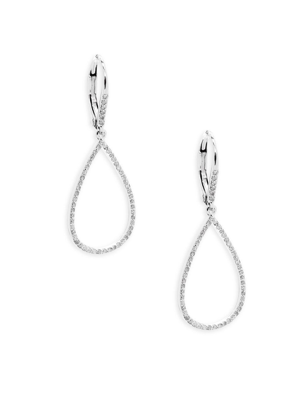 Danni Women S Metallic 14k White Gold Diamond Teardrop Earrings