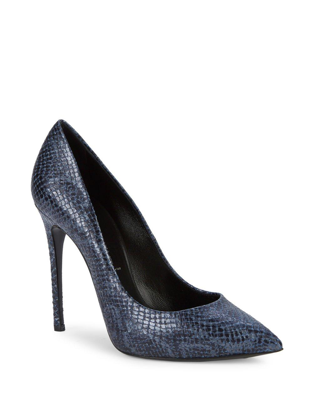 3fd675a00 Casadei Lugo Textured Leather Pumps in Gray - Lyst