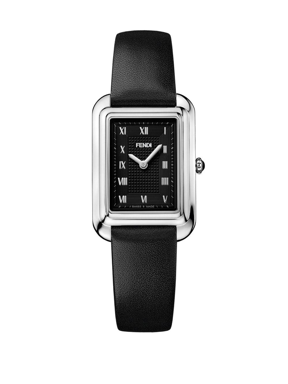 fb26d3d62f73 Fendi Classico Rectangle Stainless Steel & Leather-strap Watch in ...