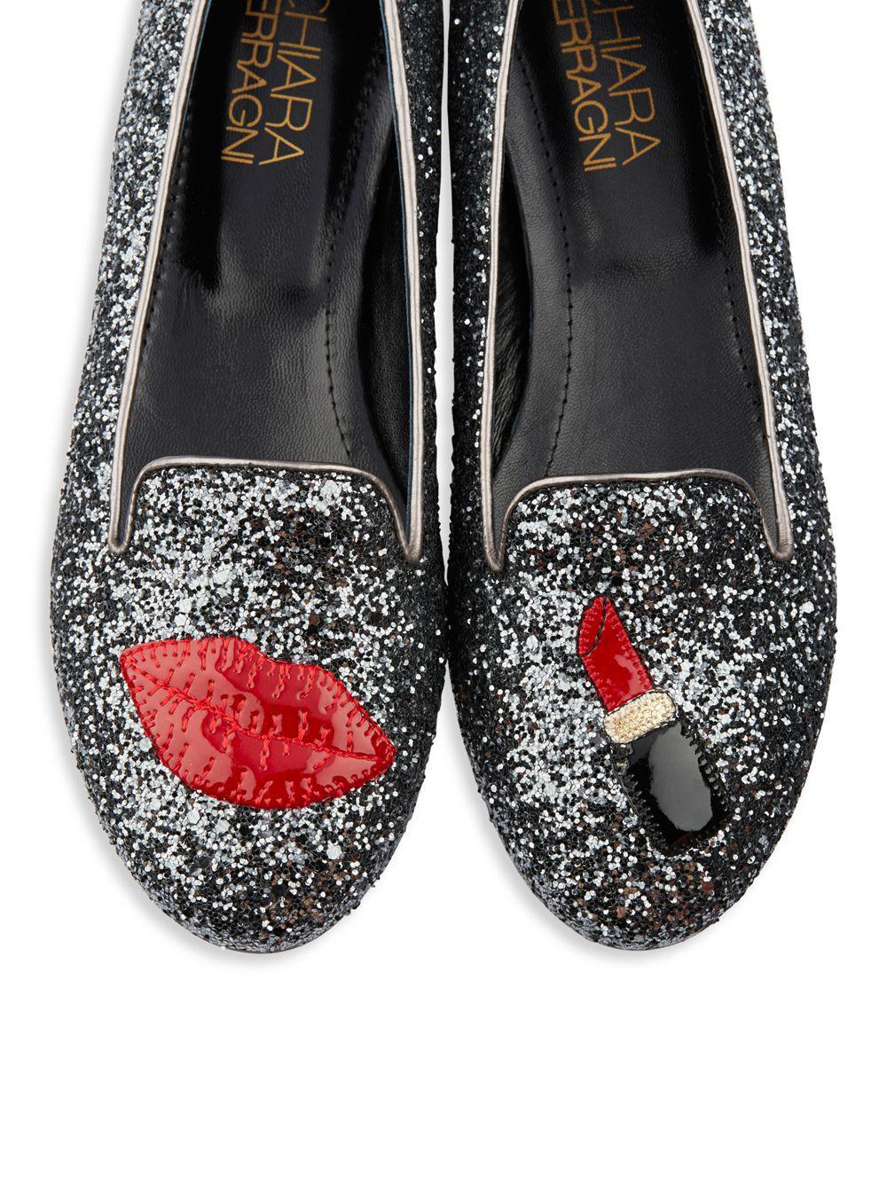 40e7c34e217 Lyst - Chiara Ferragni Lipstick Glitter Loafers in Gray