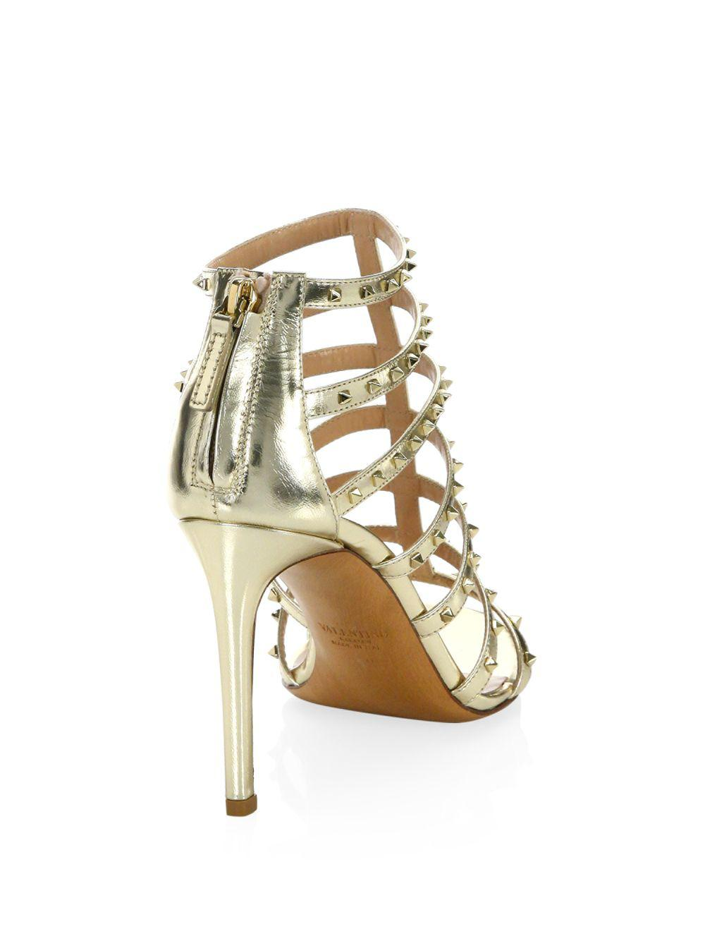 e7dd4e59c99 Valentino - Lovestud Metallic Leather Gladiator Sandals - Lyst. View  fullscreen