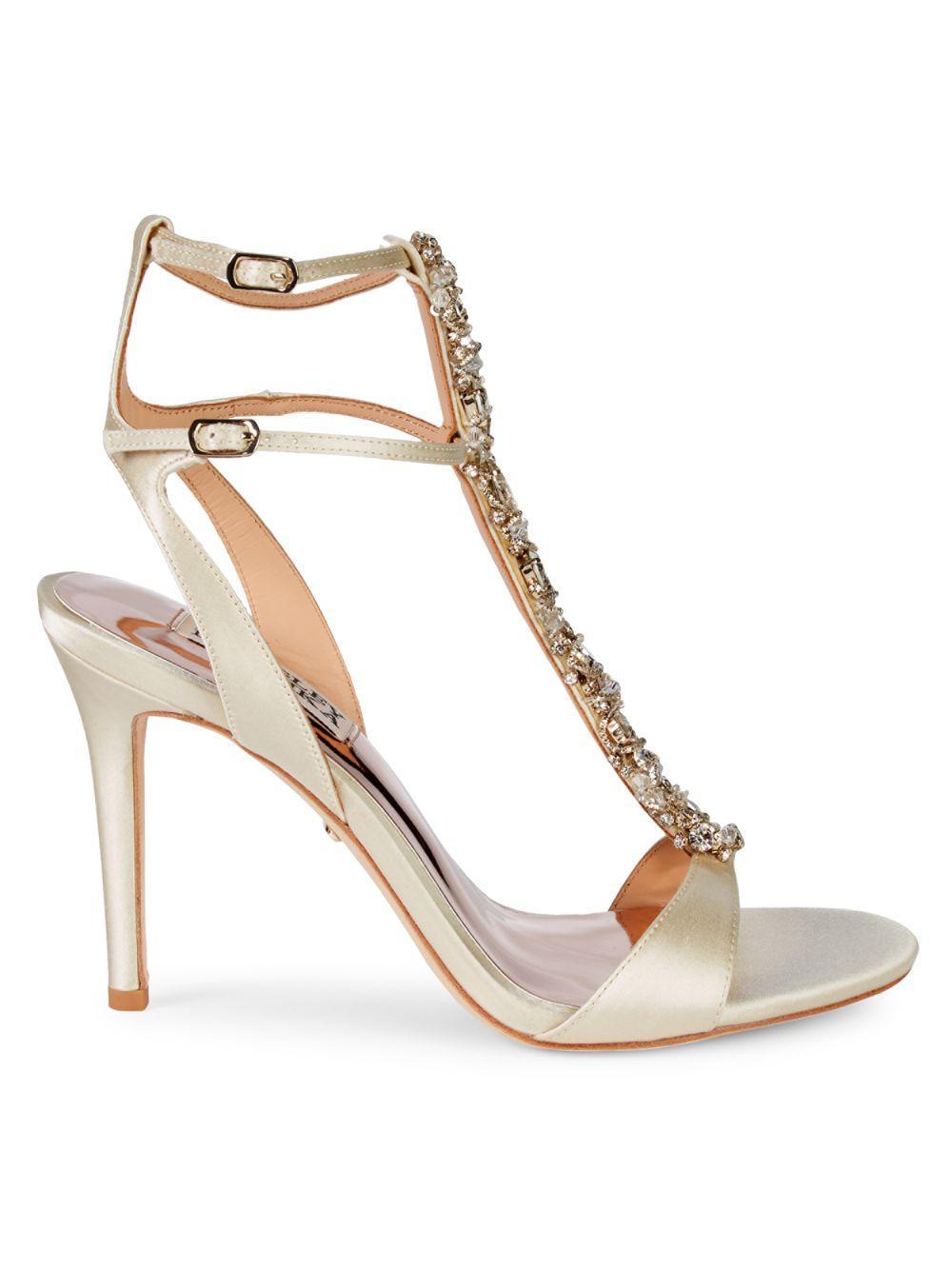 4f3c3be4acb9 Badgley Mischka. Women s White Hollow Embellished Metallic High-heel Sandals