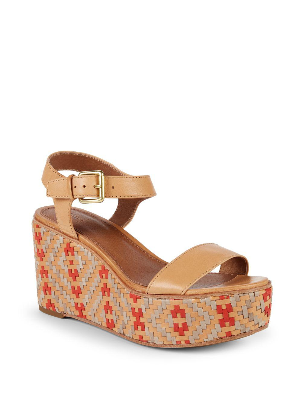 8b690afc36d Women's Brown Heather Woven Leather Wedge Sandal