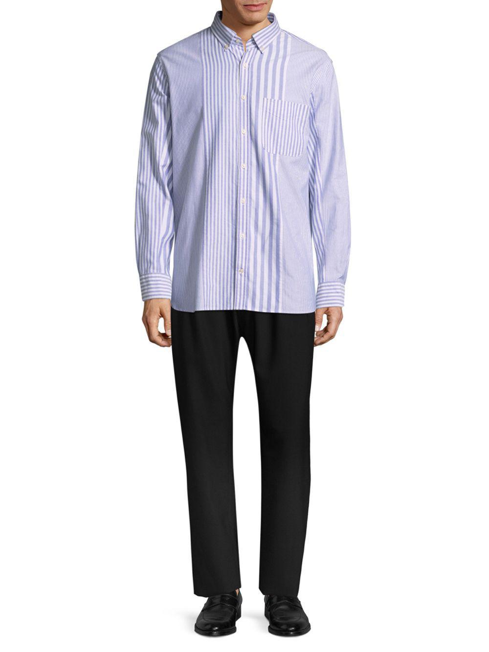 4fb2eb36 Tommy Hilfiger Stripe-block Cotton Button-down Shirt in Blue for Men ...