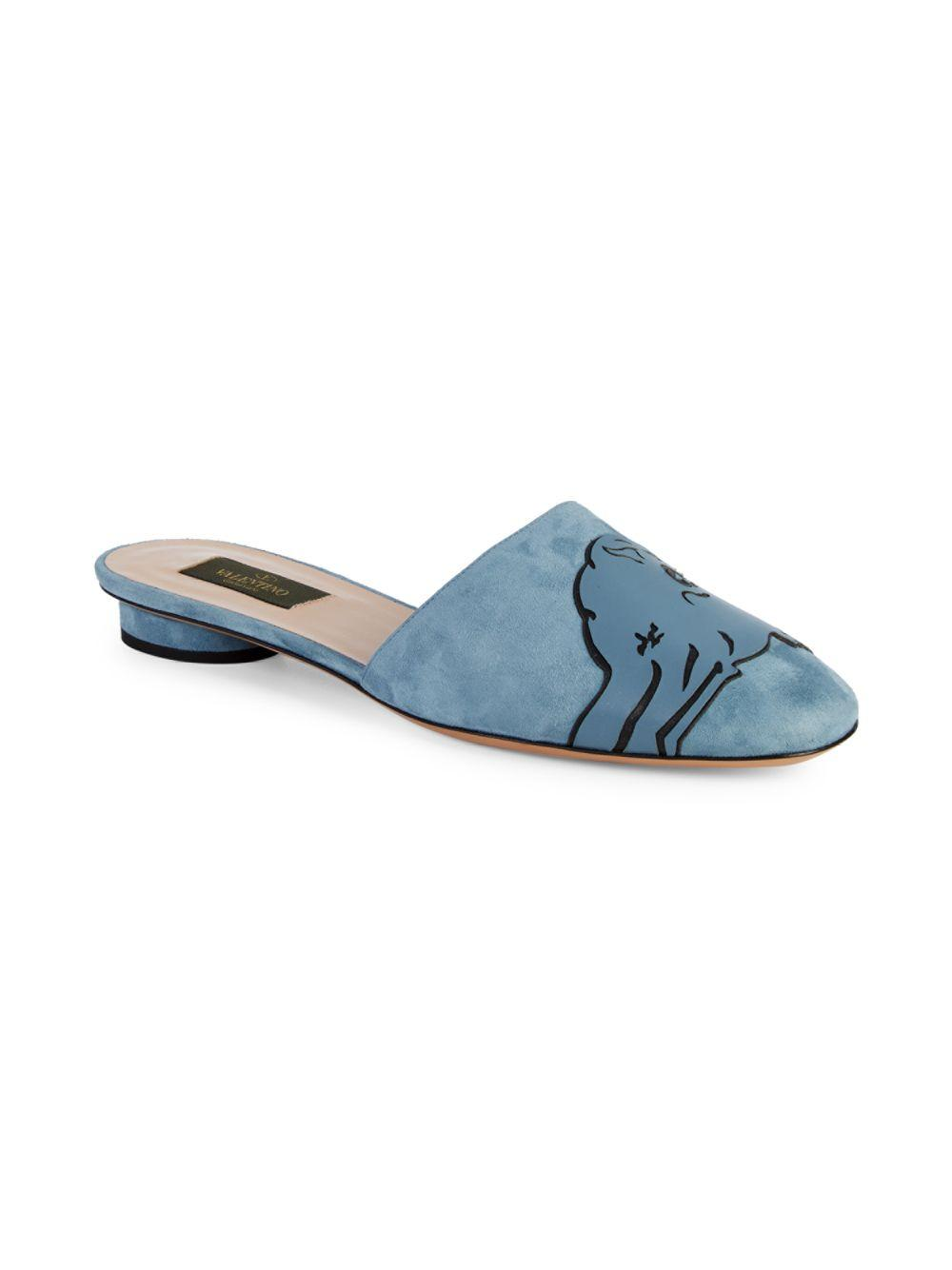 7bf4fab352f Valentino Animal-print Leather Mules in Blue - Lyst