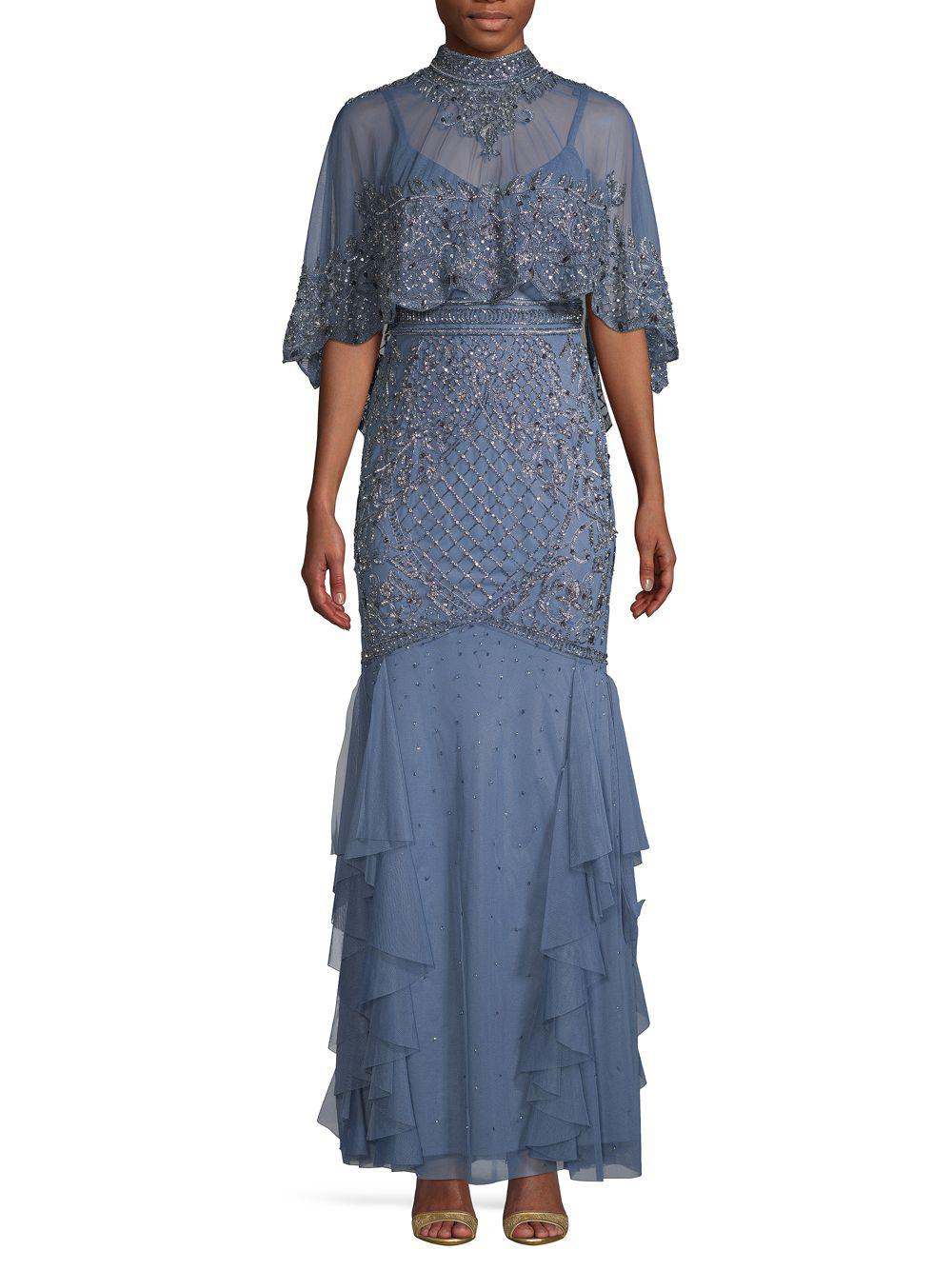 b51cf75ca3 Lyst - Aidan Mattox Caplet Beaded Gown in Blue