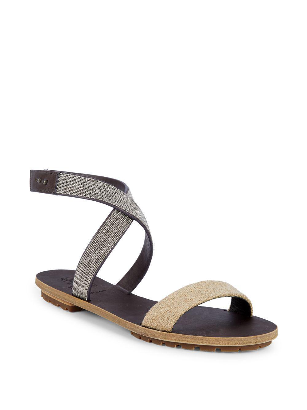 cc41bd56216 Brunello Cucinelli. Women s Textured Leather Sandals