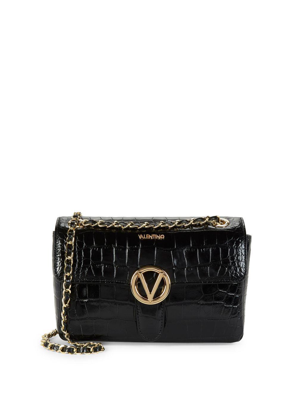 a0d6a20fbb30 Valentino By Mario Valentino. Women s Black Antoinette Crocodile Leather  Crossbody Bag