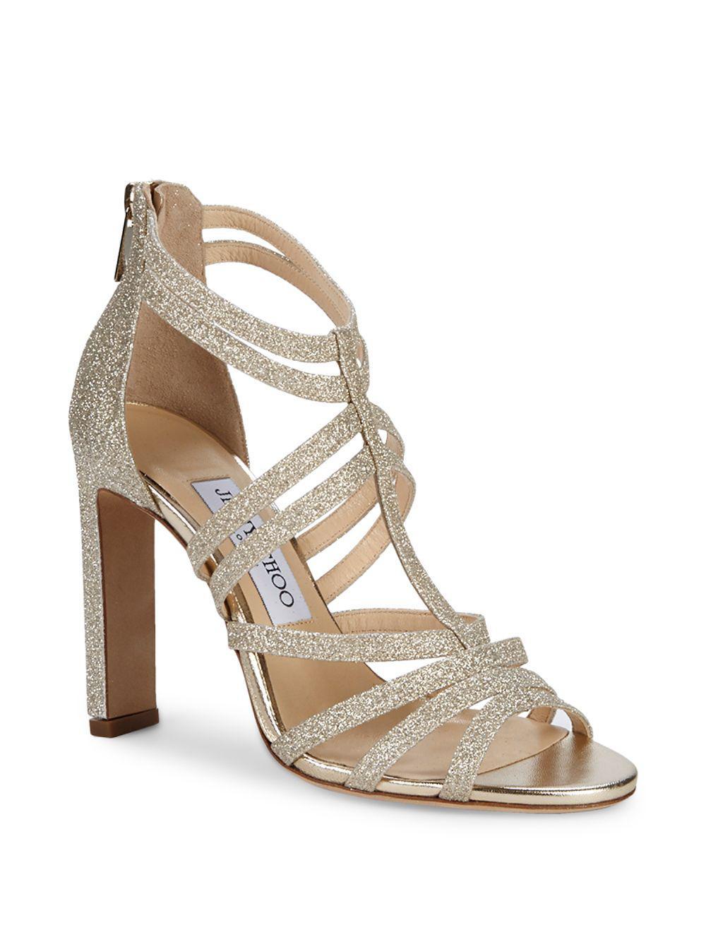 b30eac21de2 Lyst - Jimmy Choo Selina Glittered Strappy Sandals in Metallic
