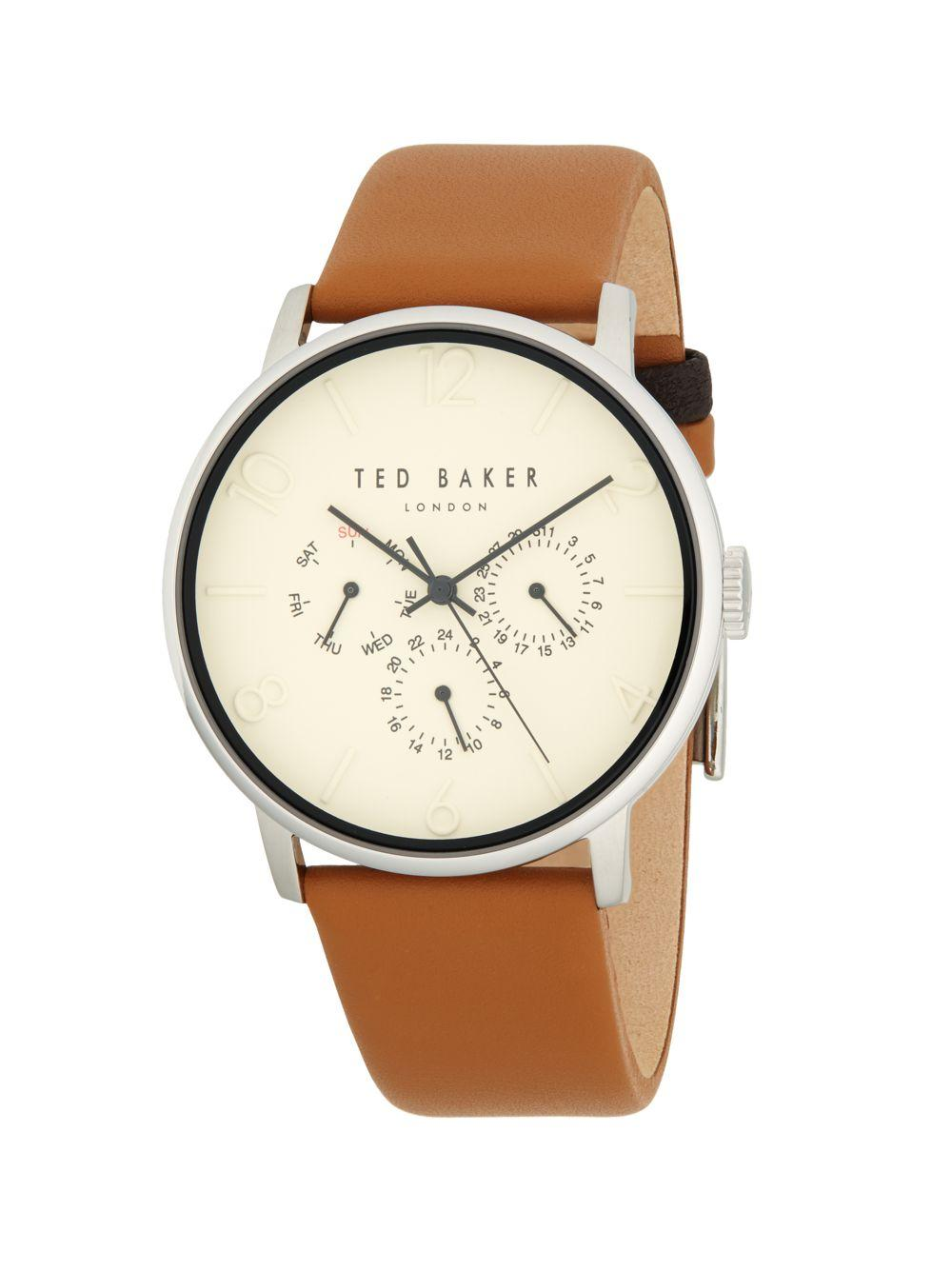 8ea697f8c Ted Baker - Metallic Stainless Steel   Leather-strap Watch - Lyst. View  fullscreen