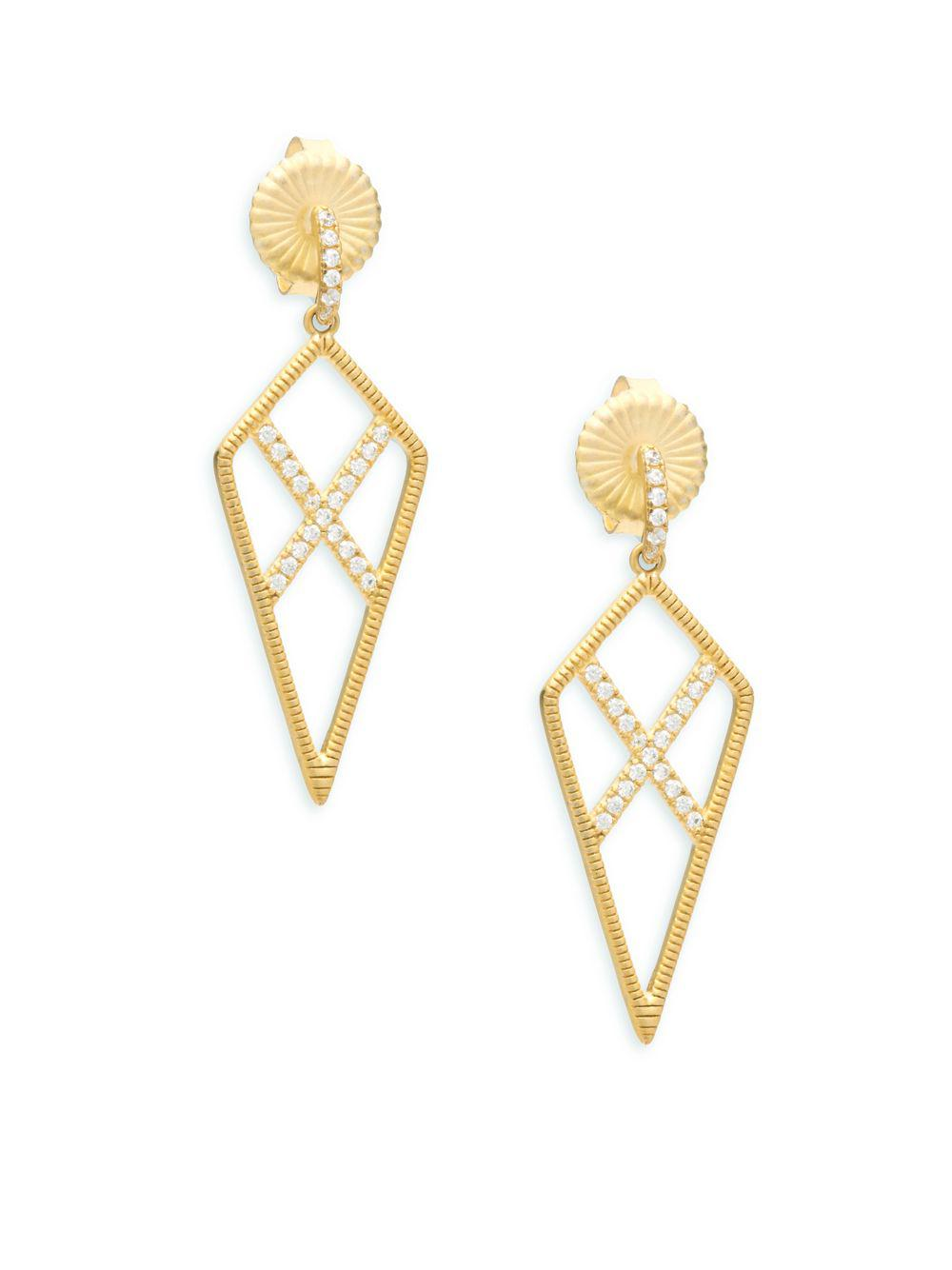 Freida Rothman Pave Crystal Teardrop Dangle Earrings O9QKB