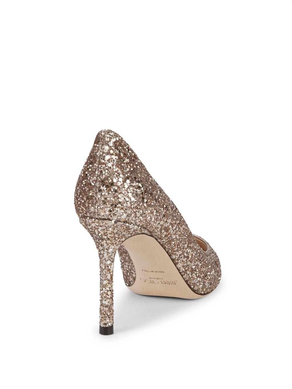 e67bccfb7618 Lyst - Jimmy Choo Romy Coarse Glitter Pumps 85 in Pink - Save  34.35114503816794%