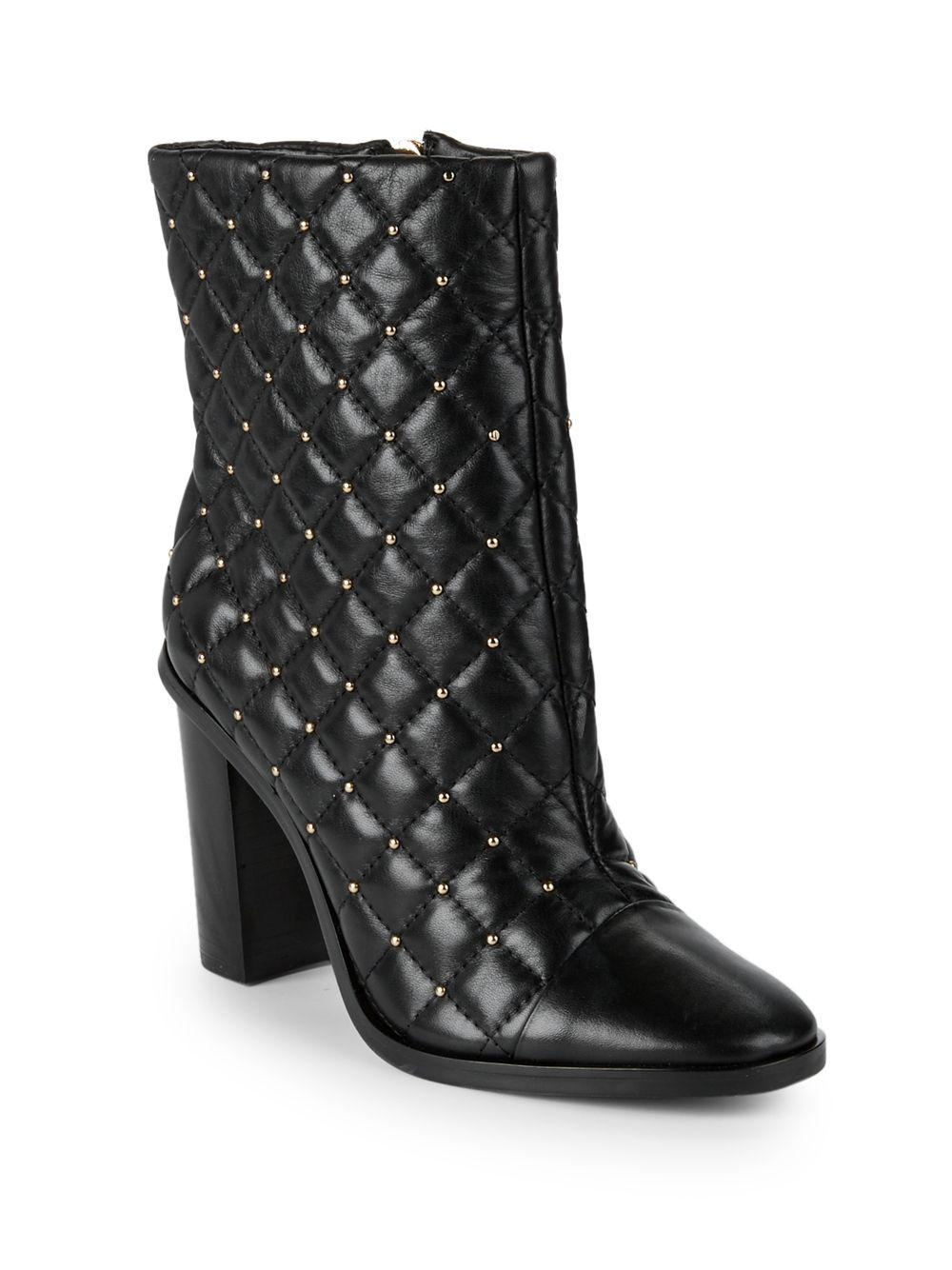 1ae34d88d346 Lyst - Ava   Aiden Quilted Leather Booties in Black