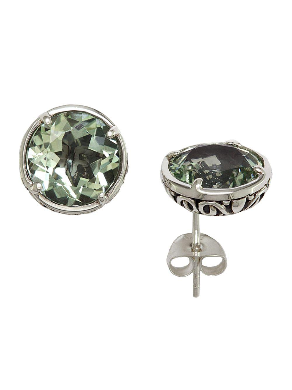 Effy Women S Balissima Green Amethyst Stud Earrings