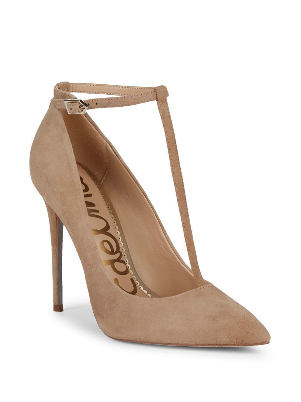 50471636781 Lyst - Sam Edelman Dorinda Ankle-strap Suede Stiletto Pumps in Natural