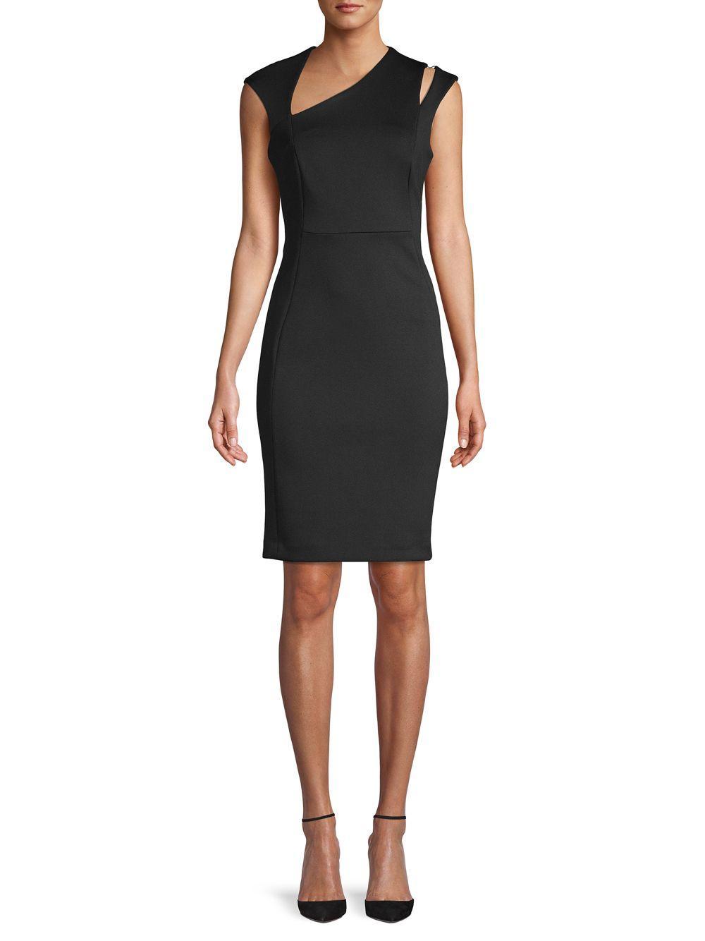 5b79bdaf Lyst - Calvin Klein Asymmetrical V-neck Sheath Dress in Black