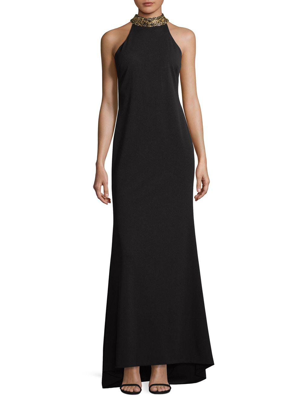 Lyst - Calvin Klein Choker Evening Gown in Black - Save ...