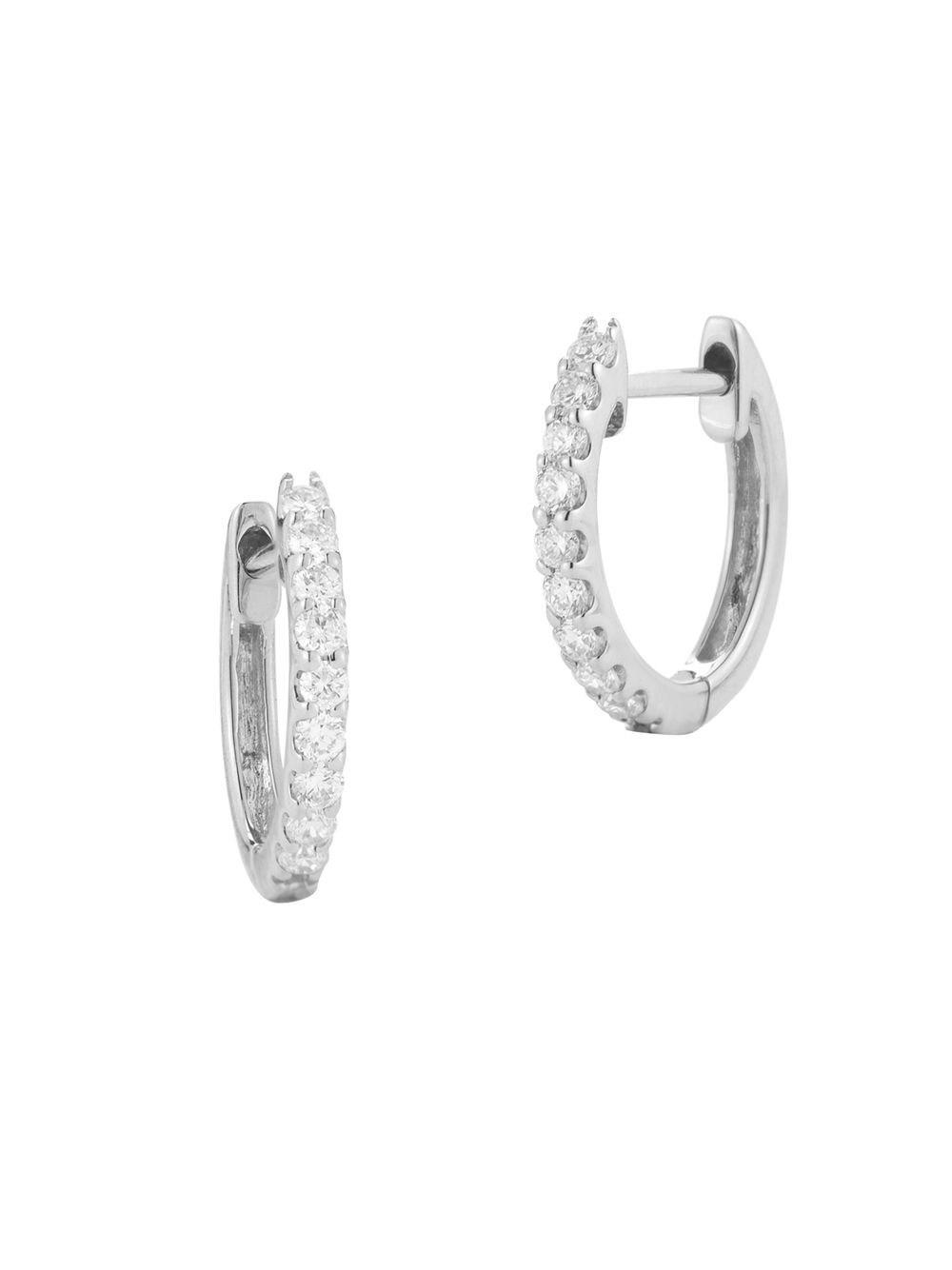 Nephora Pavé Diamond White Gold Huggie Hoop Earrings Lyst View Fullscreen