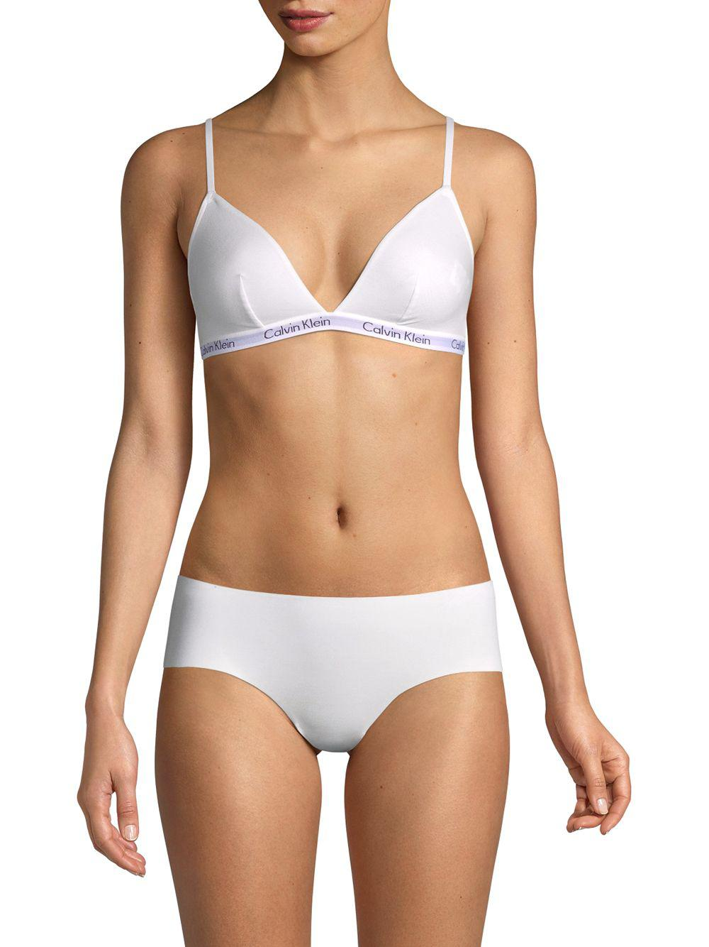 12f73fc5ef Calvin Klein - White Stretch-cotton Triangle Bralette - Lyst. View  fullscreen