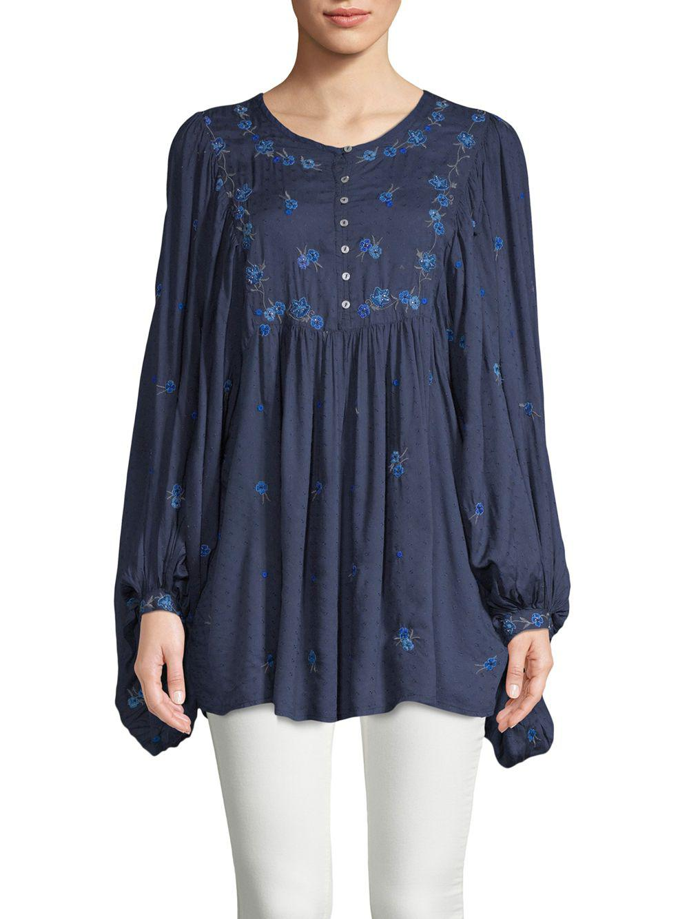 f6d66173af0 Free People Kiss From A Rose Embroidered Top in Blue - Save 3% - Lyst