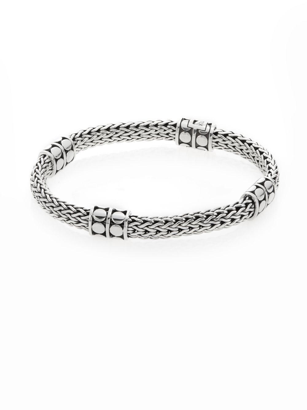 John Hardy Women S Metallic Dot Four Station Sterling Silver Chain Bracelet