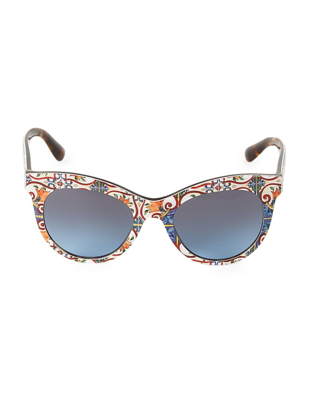 1cd62e030bea Lyst - Dolce   Gabbana 51mm Floral Tile Print Square Sunglasses in Blue