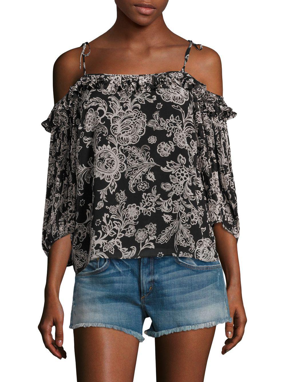 dc6ecd41fb49e5 Lyst - Ella Moss Ria Floral Cold-shoulder Top in Black - Save 42%