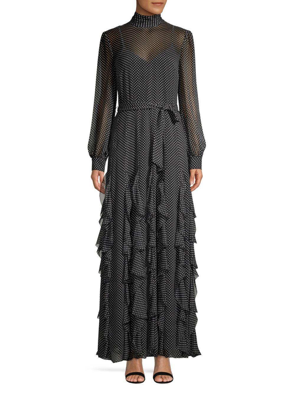 3c72028d632 Joie Cordula Silk Polka Dot Ruffle Dress in Black - Save 70% - Lyst