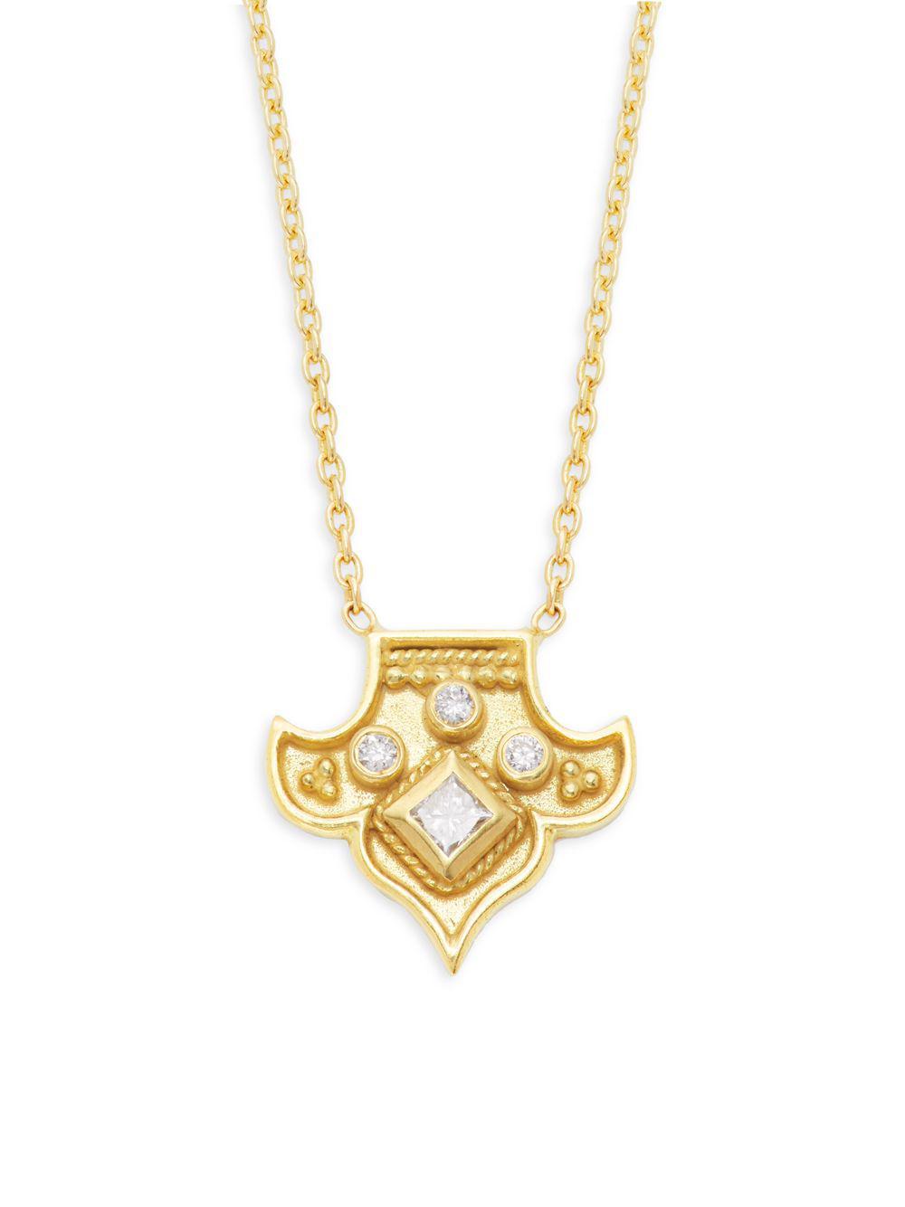 74490712d7b7 Amrapali - Metallic Heritage 18k Yellow Gold   Diamond Fleur Pendant  Necklace - Lyst. View fullscreen