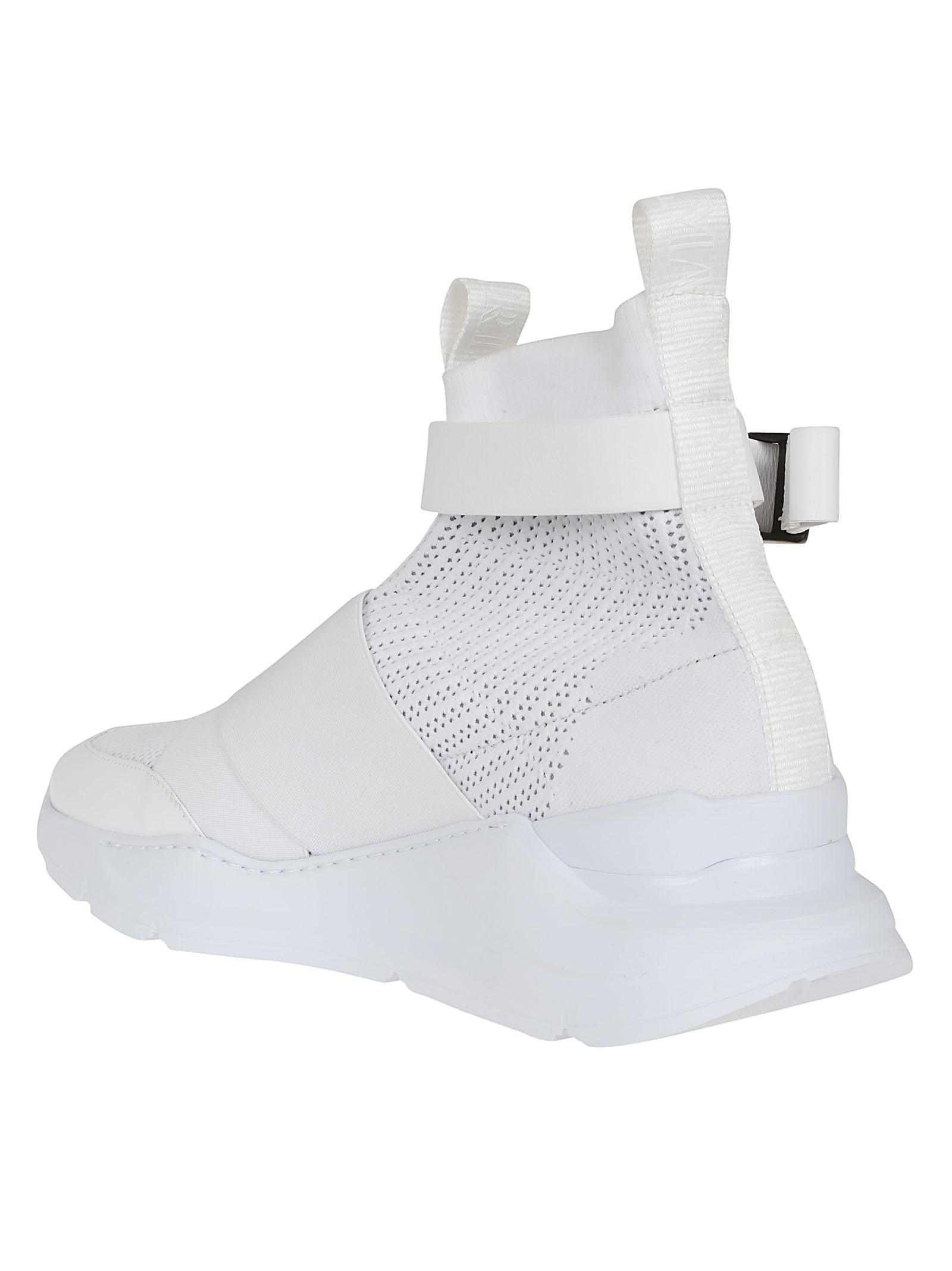d2c696649e9 Lyst - Balmain White Faust Fabric And Leather Suede Effect High Top ...