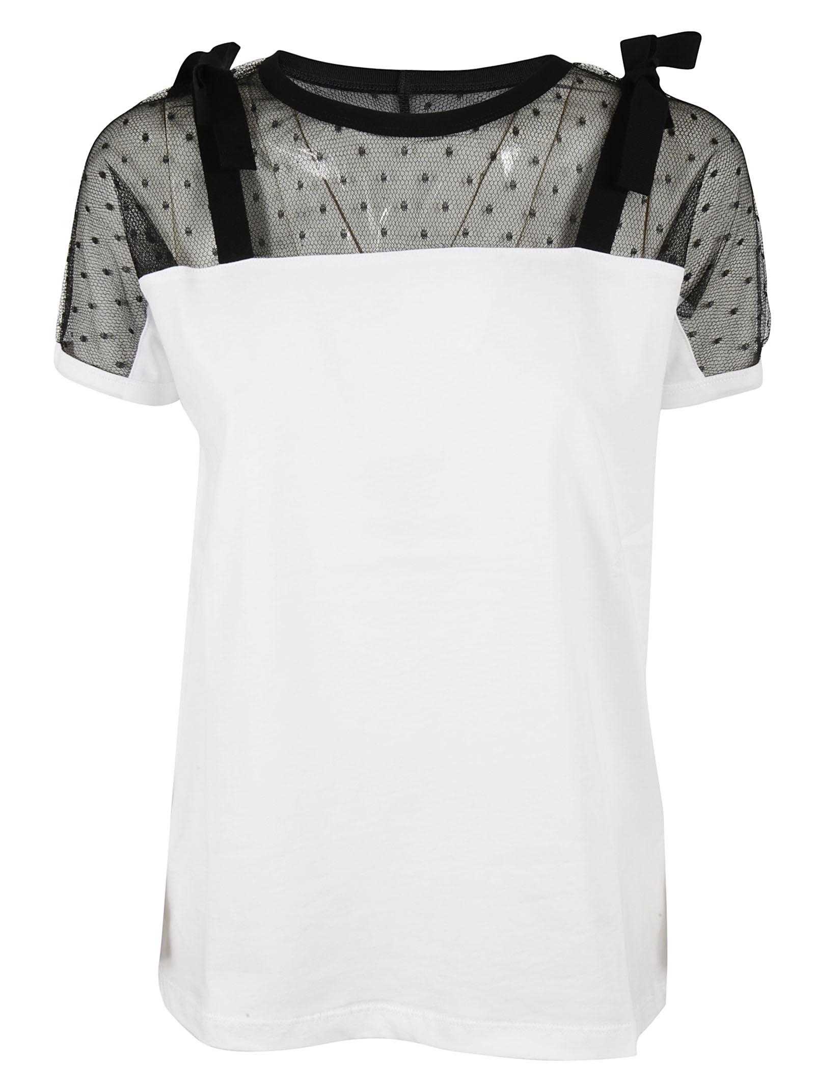 Lyst - RED Valentino Tulle Insert Short Sleeve T-shirt in White 64fc436c2