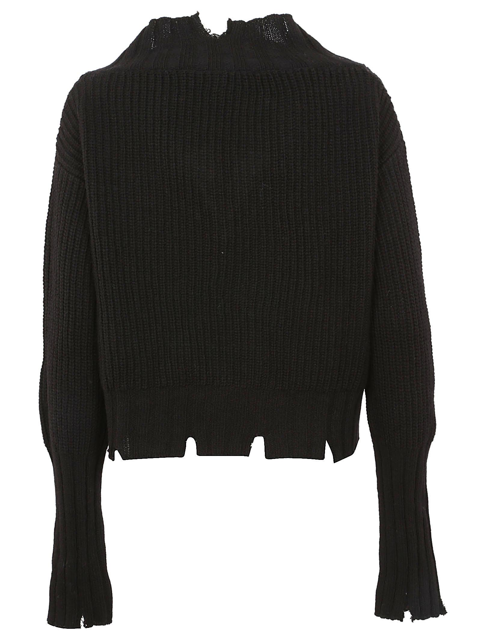 Knit Ripped Sweater Black Lyst View Edge Fullscreen Msgm Chunky qFETS