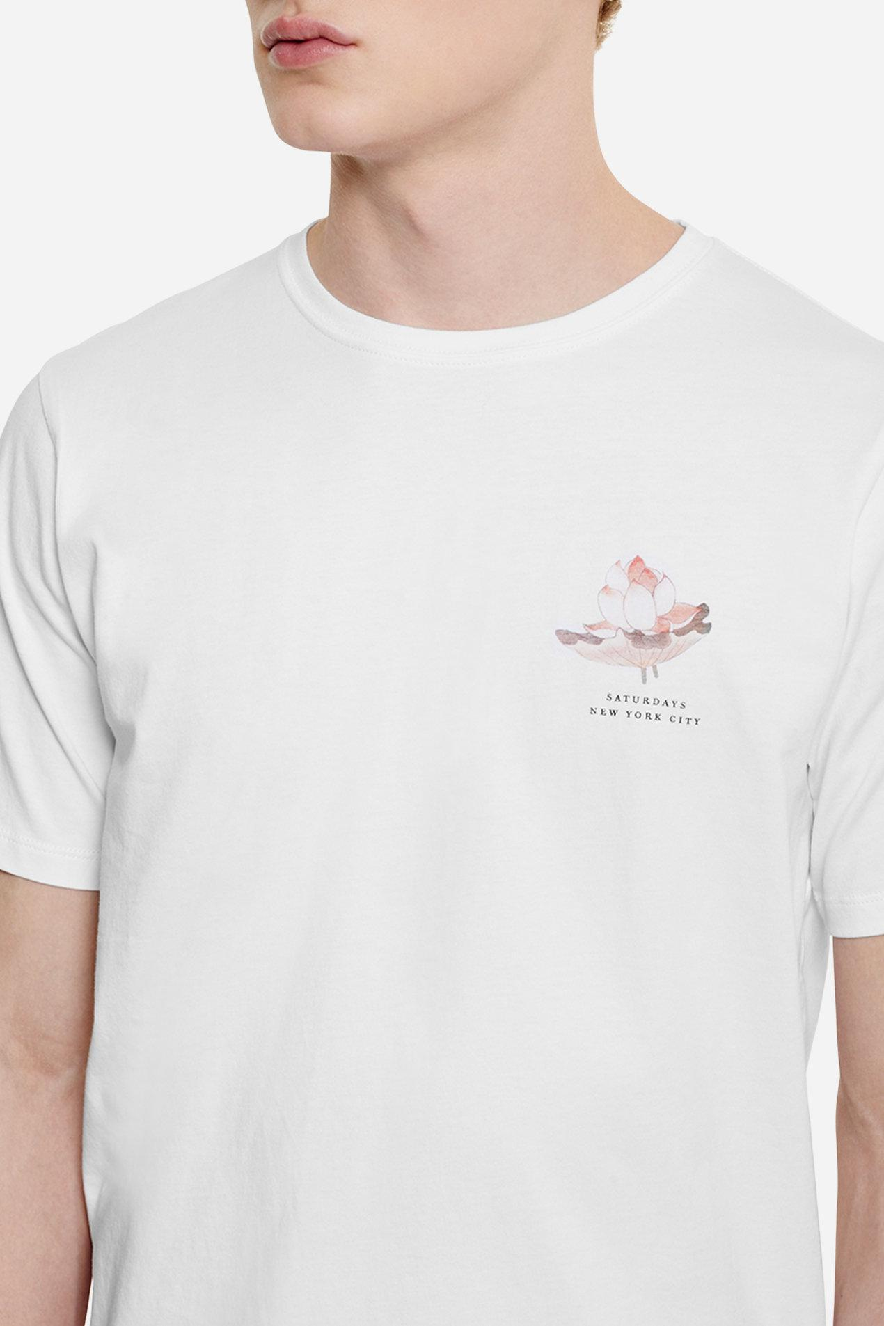 Lyst saturdays nyc lotus flower t shirt in white for men gallery izmirmasajfo Images