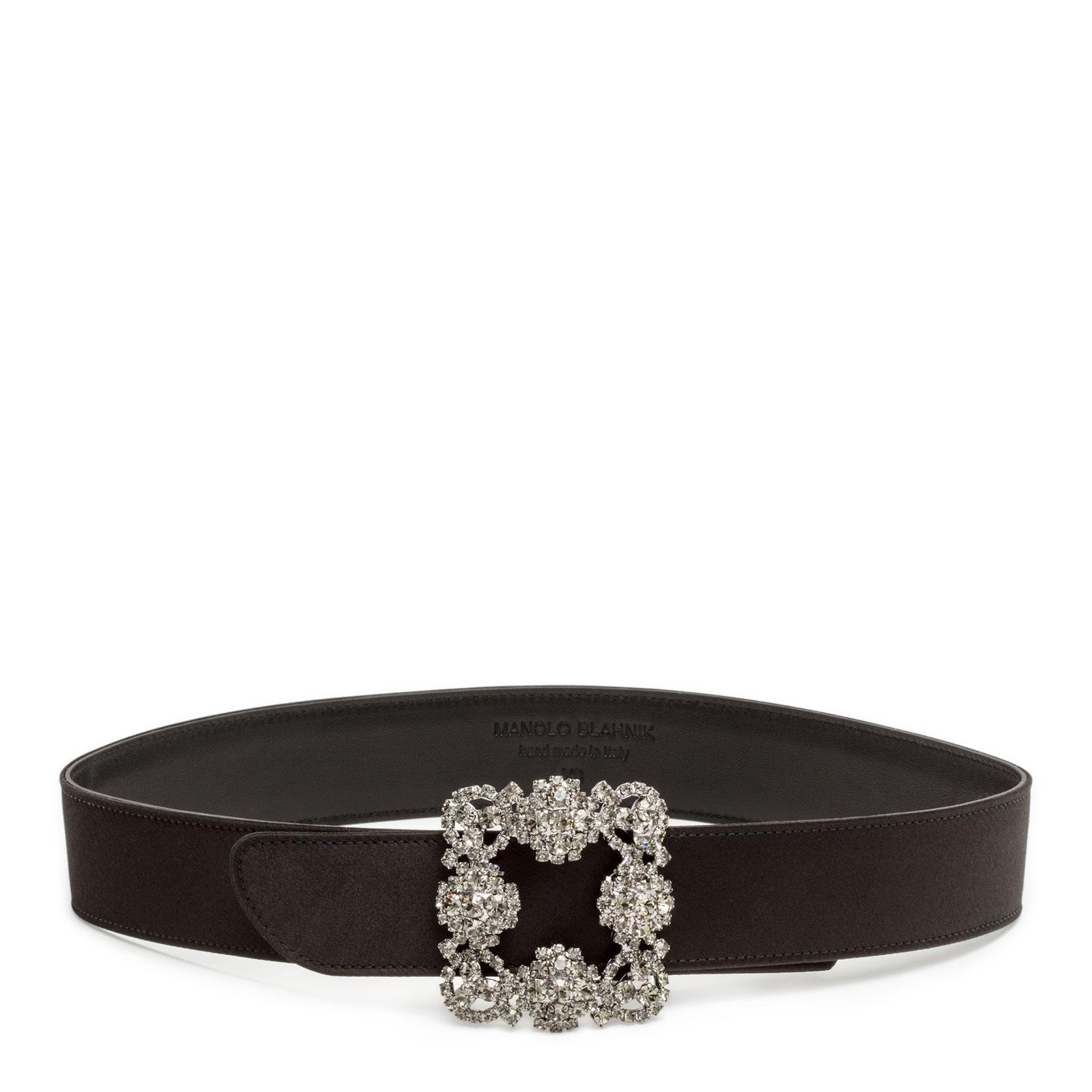 Hangisi black satin 35mm belt Manolo Blahnik 62pbt