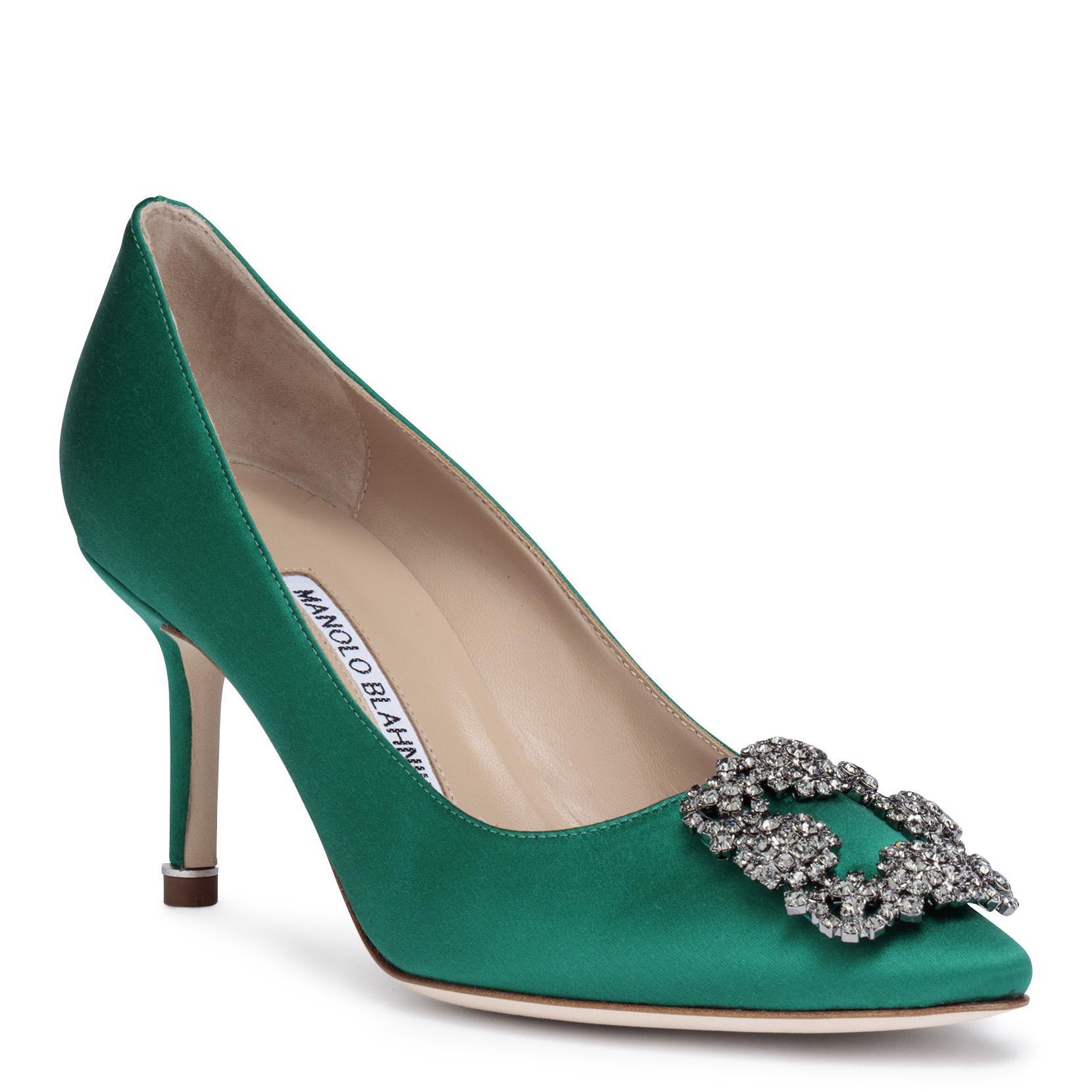 Professional Cheap Price Hangisi 70 emerald satin pumps Manolo Blahnik Discount Best Sale Cheap Price Free Shipping Free Shipping Best Sale n1fWPND6