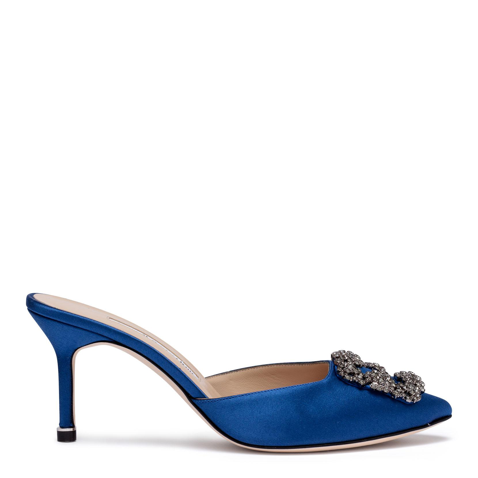 Hangisimu 70 royal blue satin mules Manolo Blahnik 3iXs4AX8