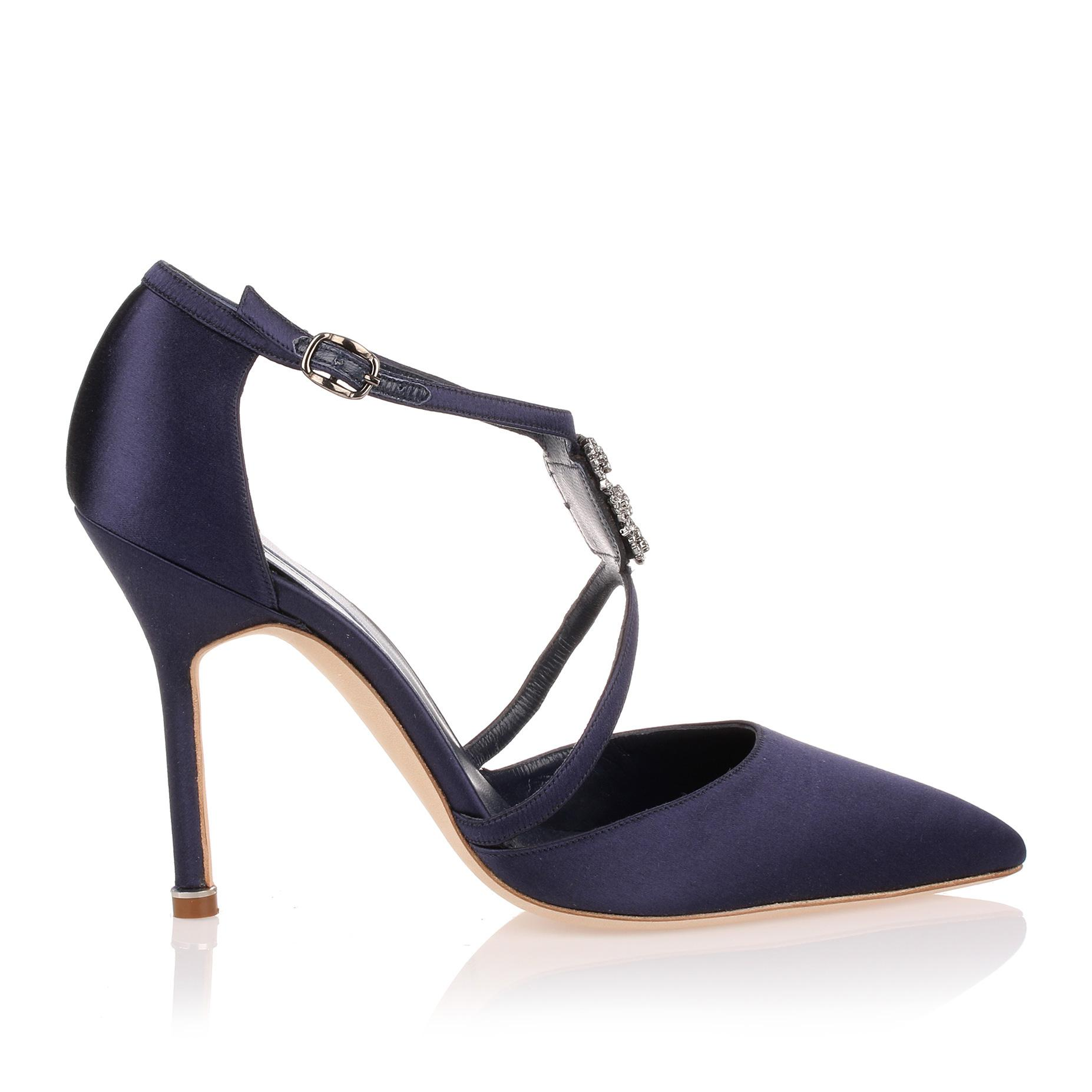 Seneca 105 satin navy pump Manolo Blahnik