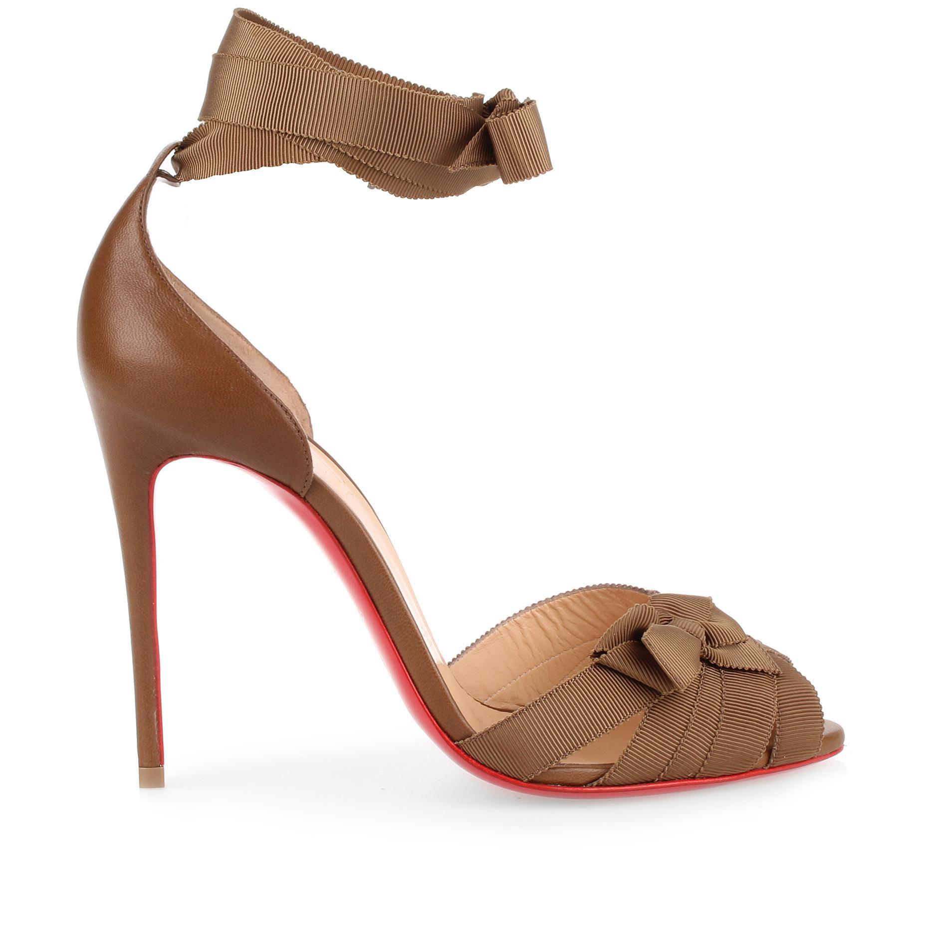 Christeriva 100 tan grosgrain sandal Christian Louboutin Tlrz3K