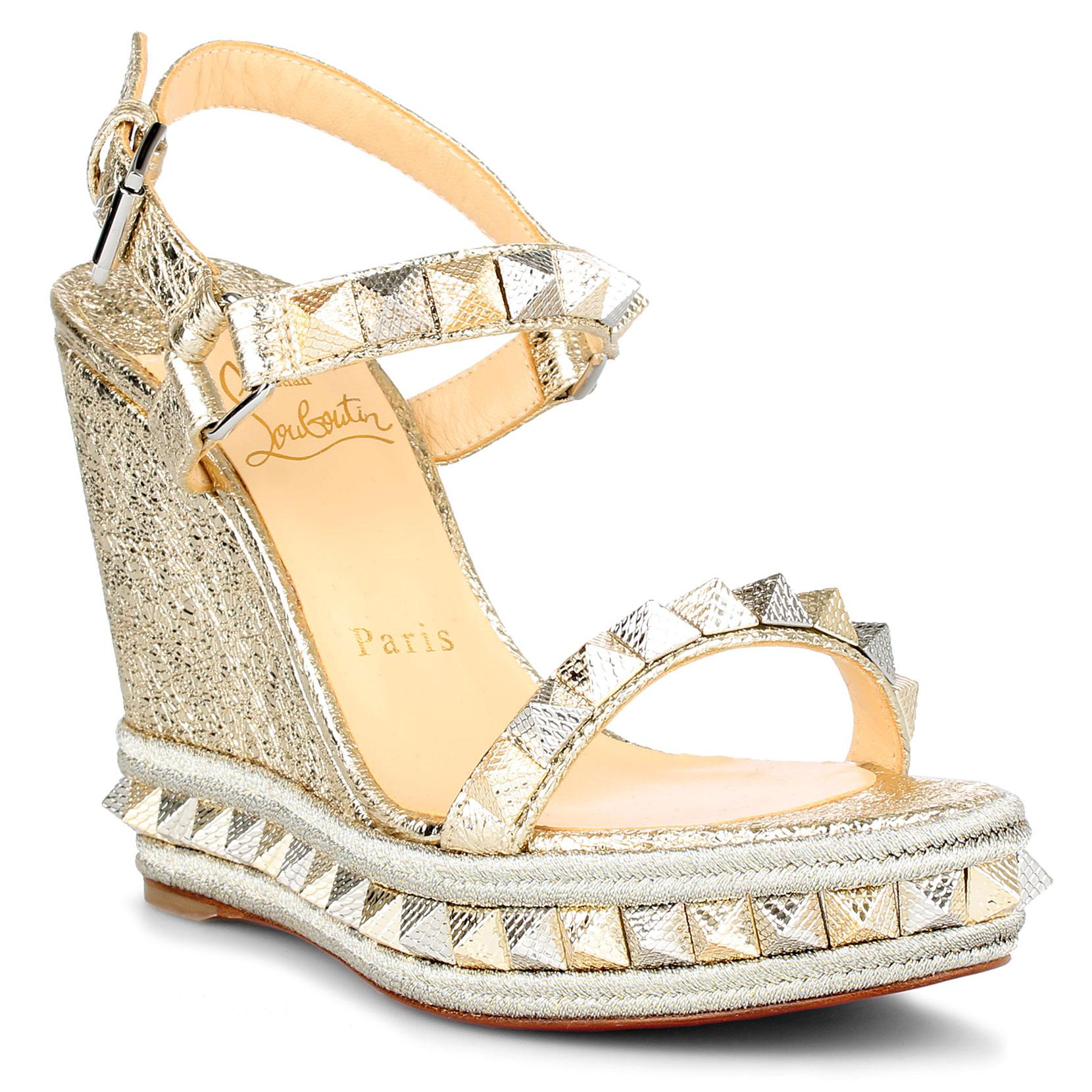 f8f37d27f85 Lyst - Christian Louboutin Pyraclou 110 Metallic Leather Espadrilles ...