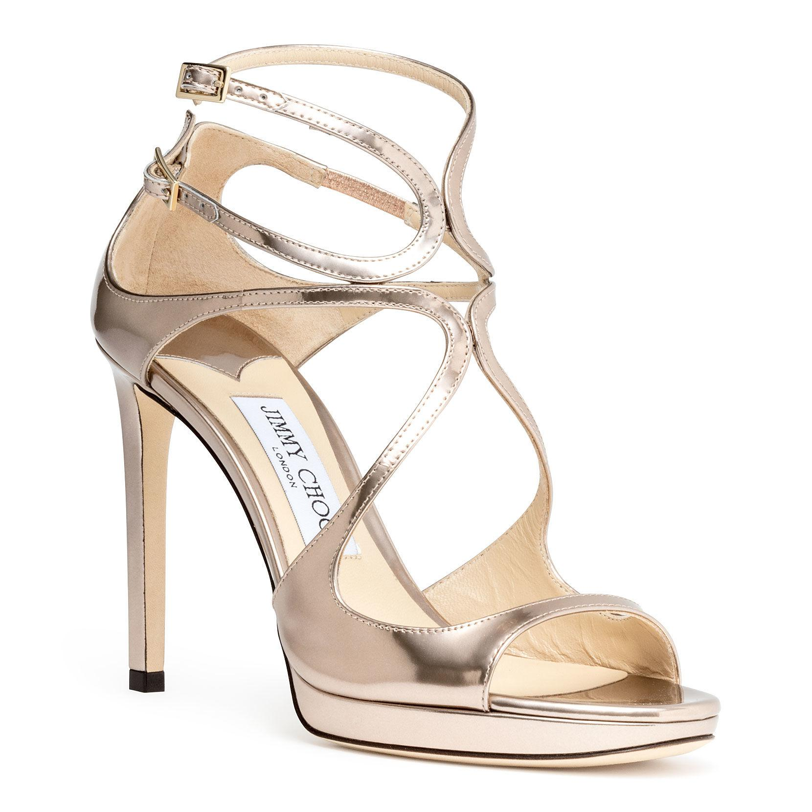 a6e580c06e4c Jimmy Choo - Metallic Lance 100 Gold Leather Sandals - Lyst. View fullscreen
