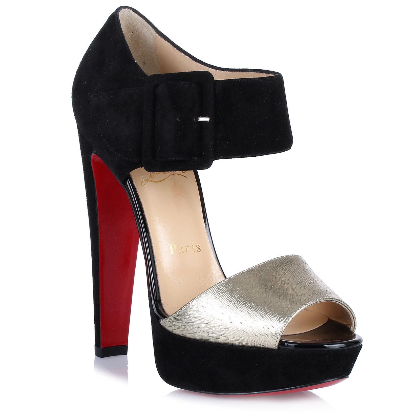 f4a68bd385ba Christian Louboutin Haute Retenue Black Suede Sandal in Black - Lyst