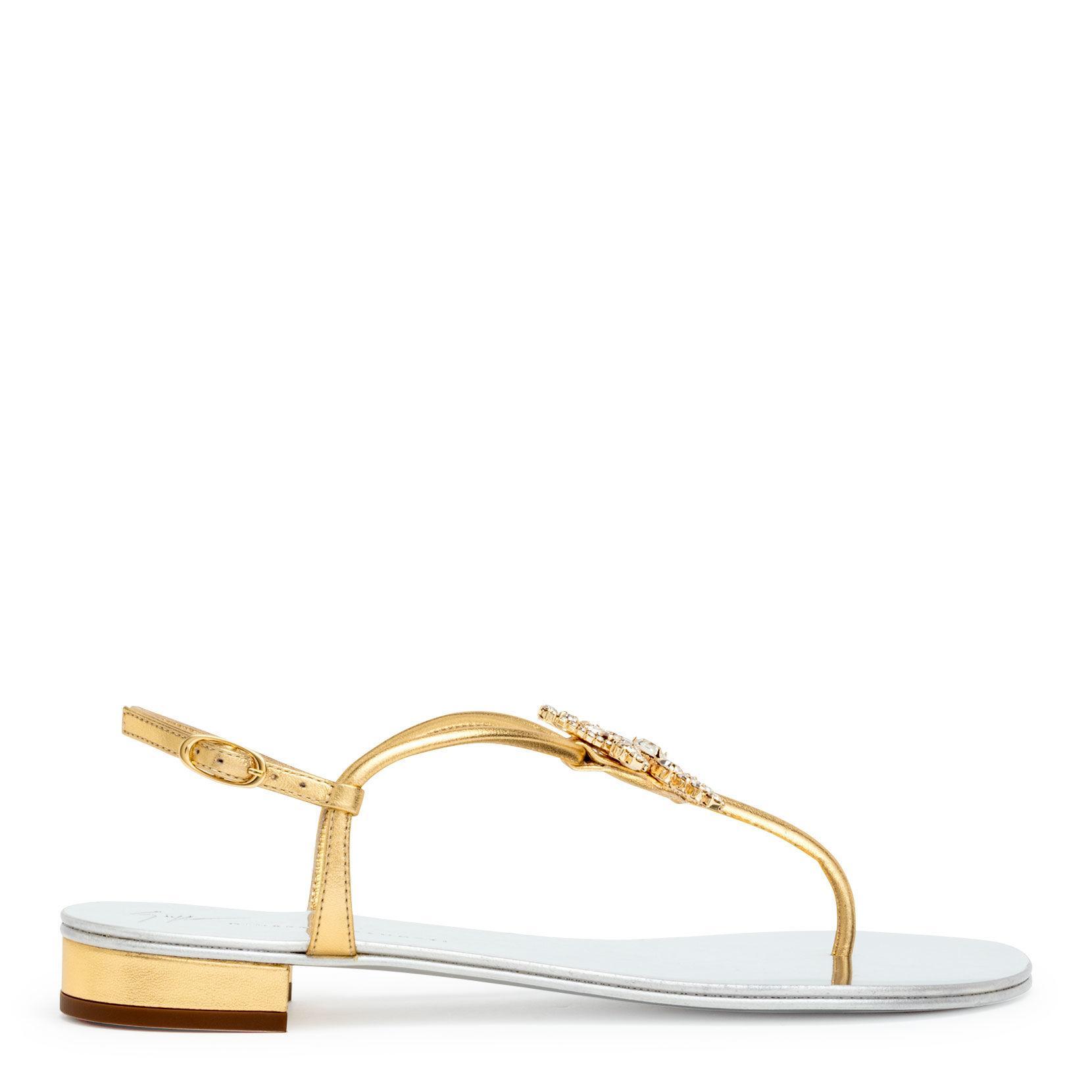 93eeb55b91ff Giuseppe Zanotti - Metallic Starfish Gold Nappa Flat Sandals - Lyst. View  fullscreen