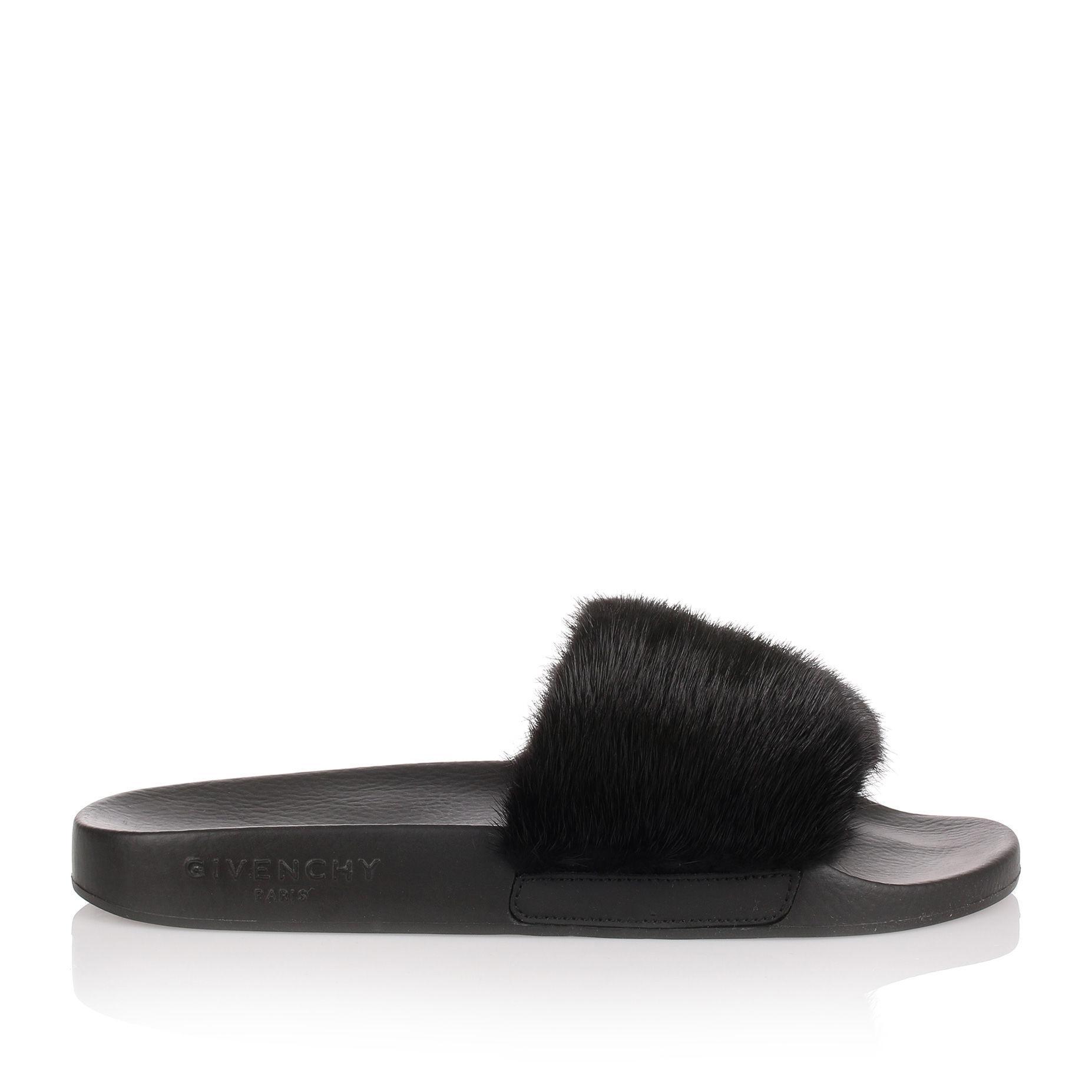 b8bab4313723 Givenchy Black Mink Slide Sandal Us in Black - Save 64% - Lyst