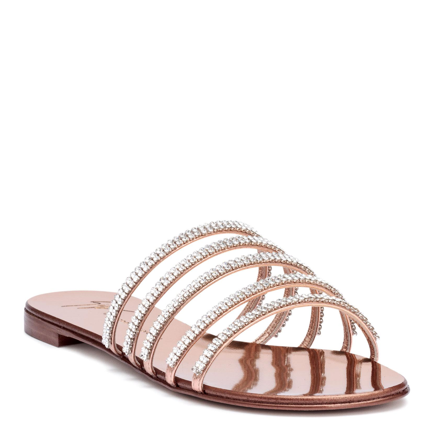Giuseppe Zanotti Patent flat sandal with crystals MICHELA OOLBHt9ZT