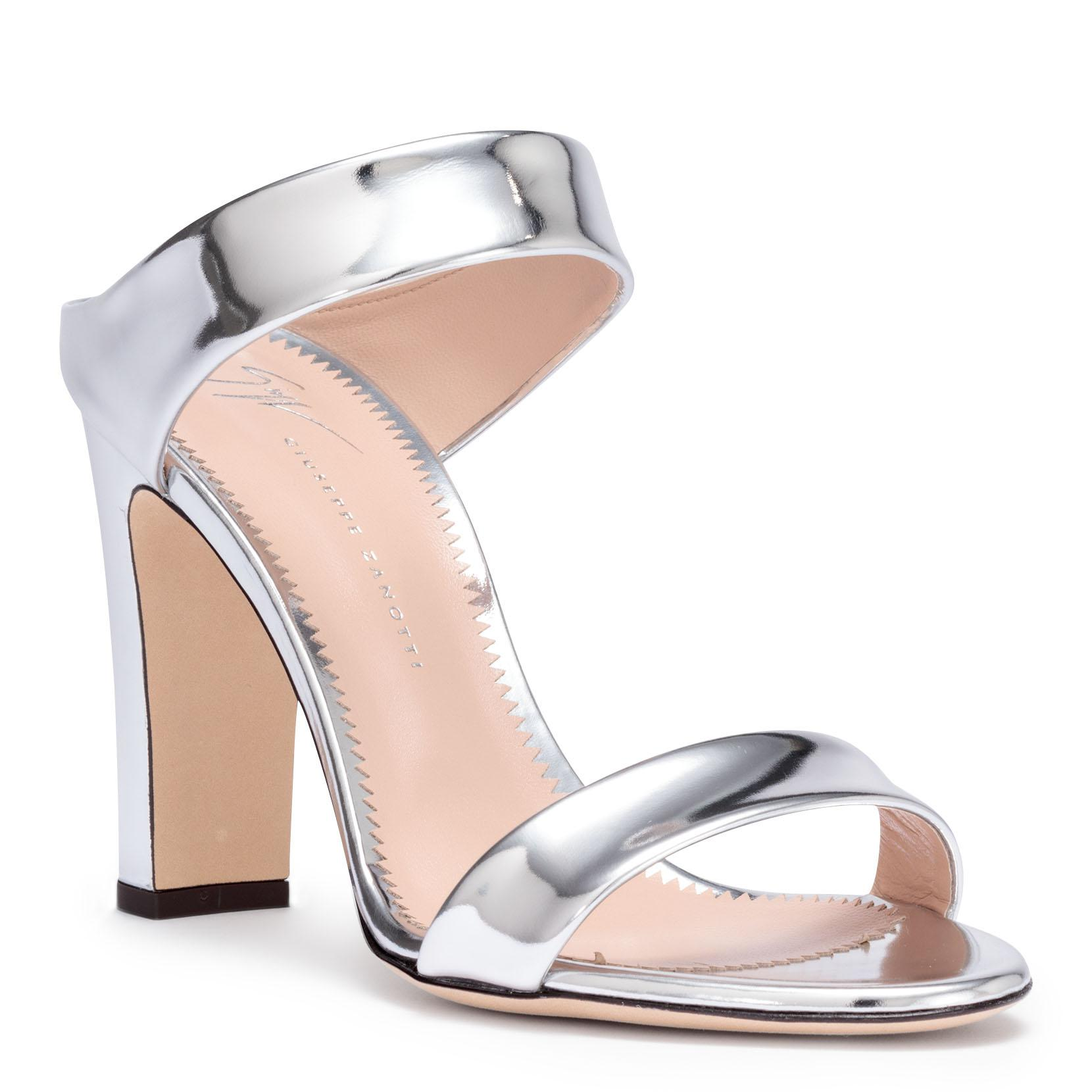 free shipping store Giuseppe Zanotti Metallic silver leather block heel sandals brand new unisex cheap online zsb54ZAPf