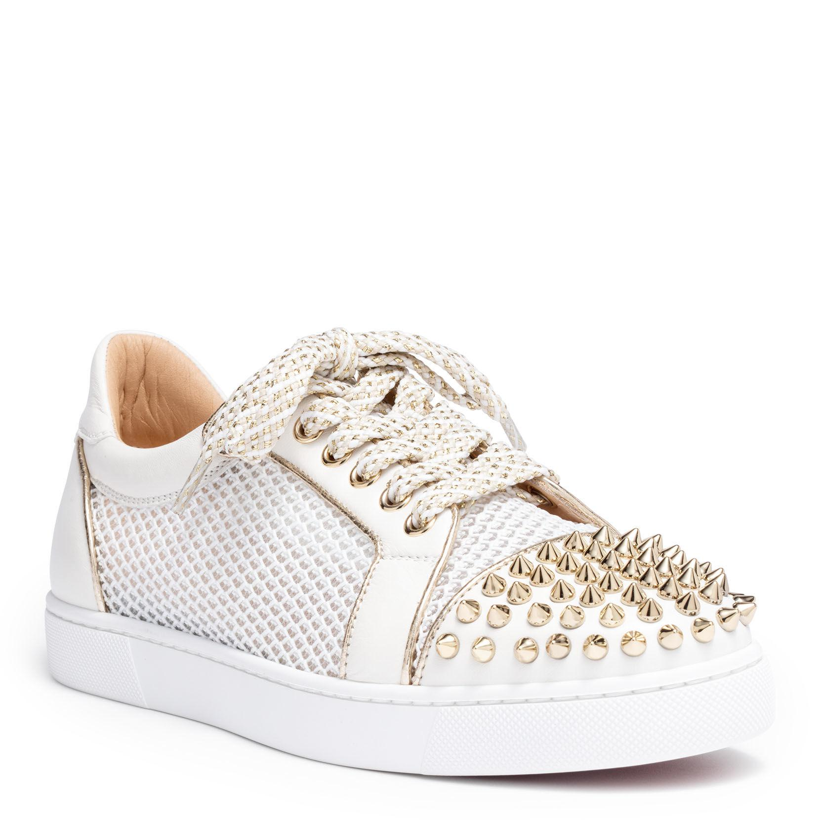 f1d611f4de8 Christian Louboutin Vieira Light Gold Leather Spike Sneakers in ...