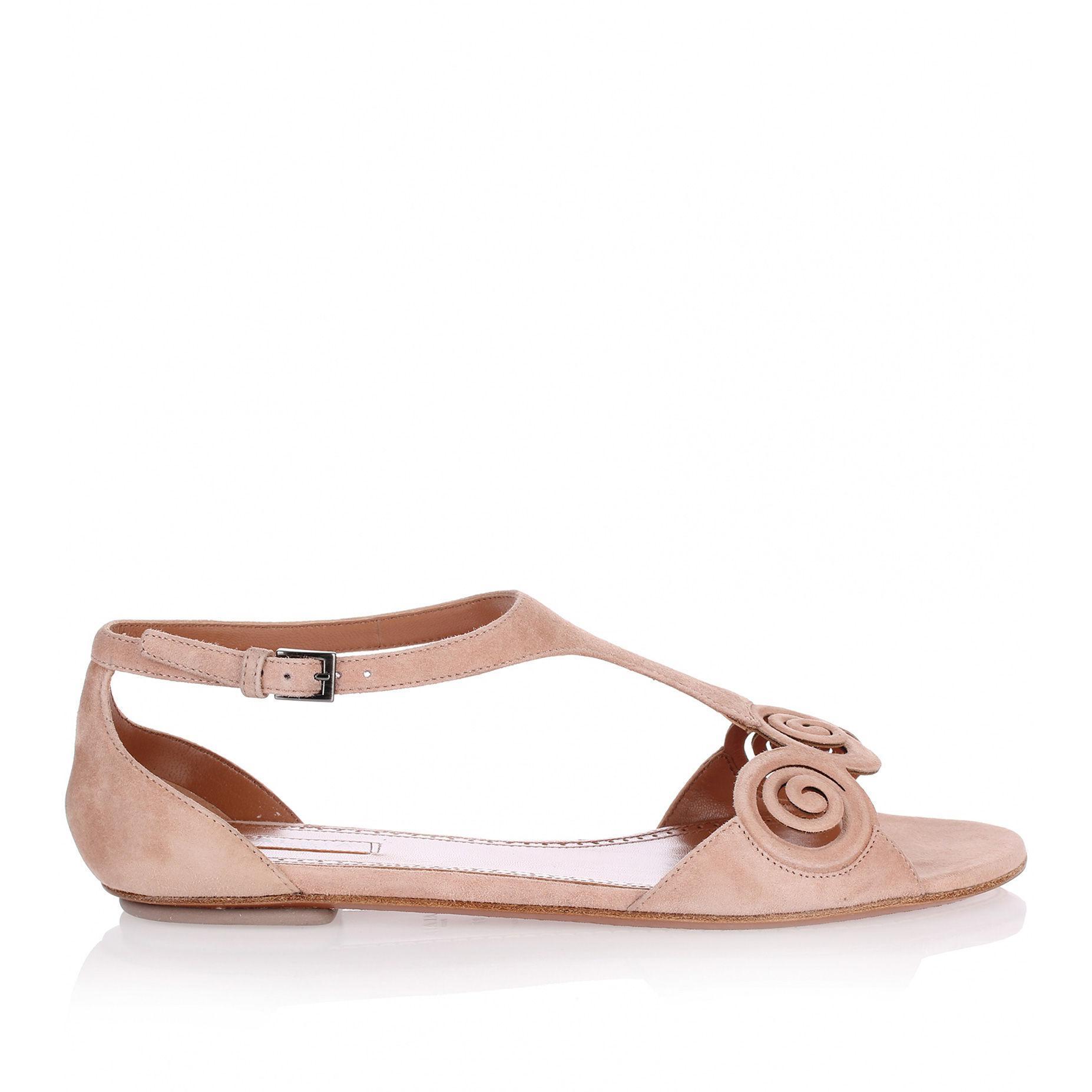 0b2cf3b544420 Alaïa - Multicolor Nude Suede Flat Sandal Us - Lyst. View fullscreen