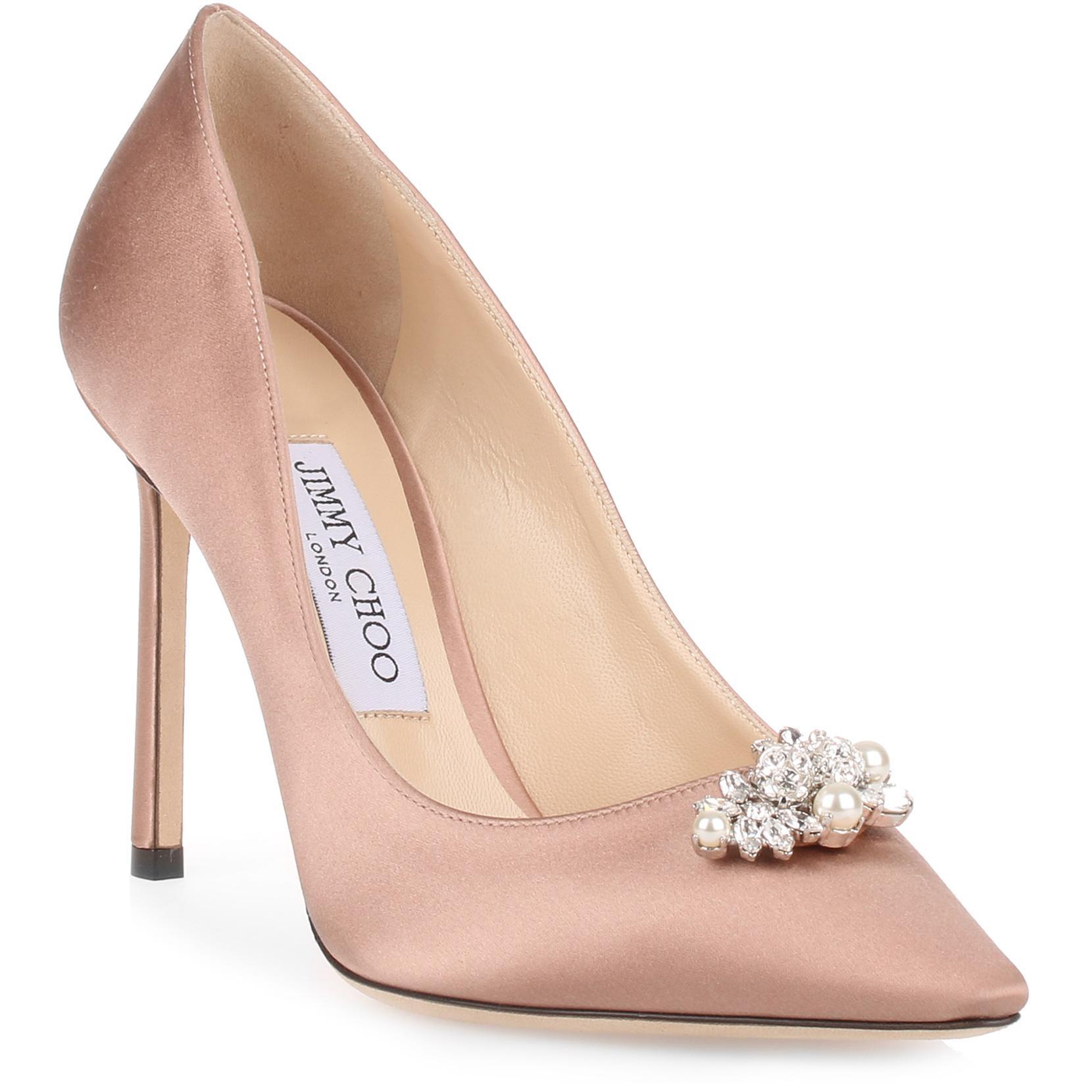 Alexa 100 ballet pink satin crystal pump Jimmy Choo London qbQRW