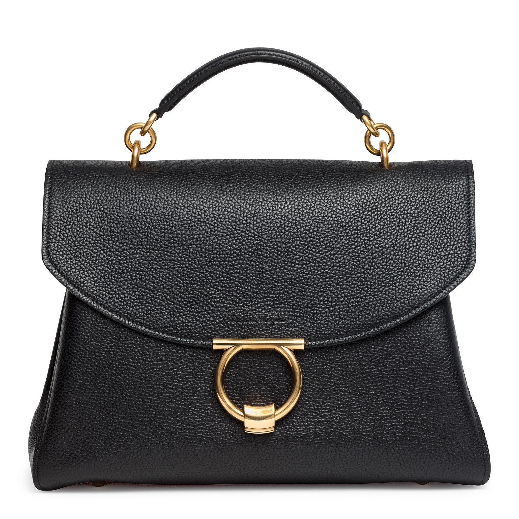 3f14a98fbb8d Ferragamo Gancini Top Handle Bag in Black - Lyst